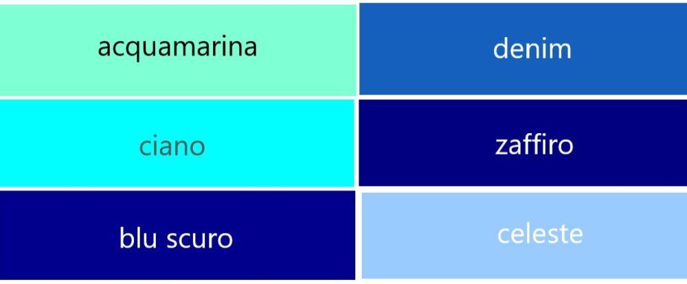 青系のイタリア語の色