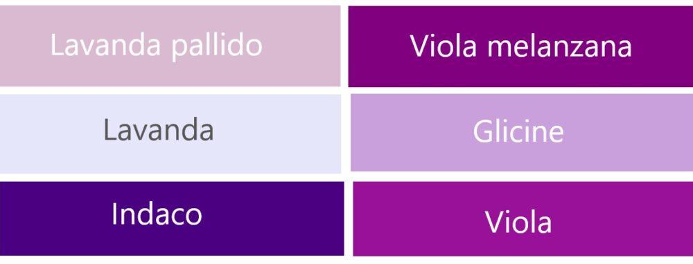 紫系のイタリア語の色